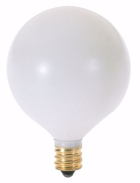 Picture of SATCO S3772 60W G16 1/2 CAND SATIN WHITE Incandescent Light Bulb