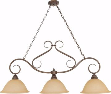"""Picture of NUVO Lighting 60/1025 Castillo - 3 Light - 44"""" - Trestle - with Champagne Linen Washed Glass"""