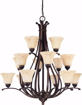 """Picture of NUVO Lighting 60/1404 Anastasia - 15 Light 3 Tier 38"""" Chandelier with Honey Marble Glass"""