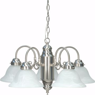 Picture of NUVO Lighting 60/1290 5 Light Chandelier Brushed Nickel / Alabaster Glass